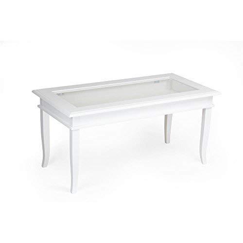 Mobilifiver - Clasica Mesa de salon de Madera Blanca, 100 x 50 x 45 cm