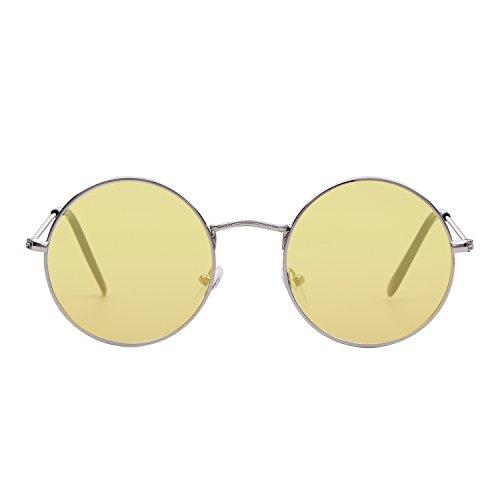 para metal de Gafas Amarillo Marco montura 1 Plata de de sol ir redondeada con retro fino compras ADEWU unisex Lente Y0wPY