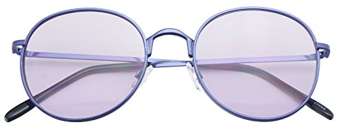 SunglassUP - Colorful Classic Vintage Round Flat Lens Lennon Style Sunglasses (Purple (Light Tint), - Sunglasses Light Tint