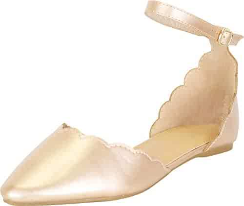 2c58844dd73 Cambridge Select Women s Pointed Toe Scalloped D Orsay Ankle Strap Ballet  Flat
