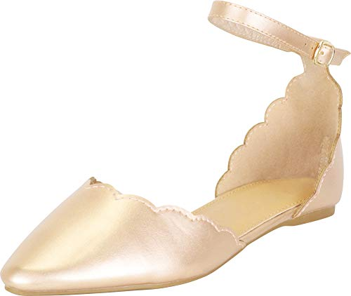 Gold Scalloped - Cambridge Select Women's Pointed Toe Scalloped D'Orsay Ankle Strap Ballet Flat,9 B(M) US,Champagne PU