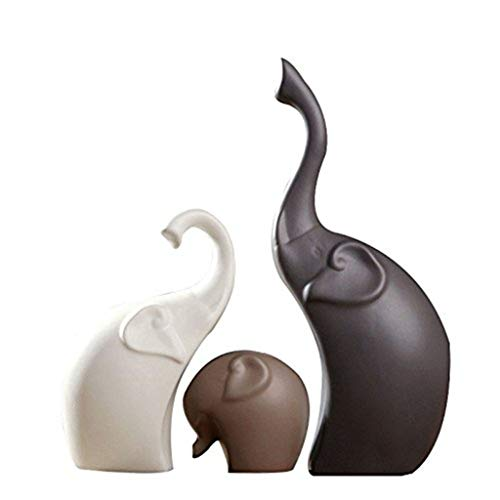 (HETAO 3 Pcs/Set Ceramics Elephant Figurines,Animal Ornaments Handicrafts Miniatures Gifts for Home Wedding Decoration)