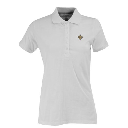 NFL Women's New Orleans Saints Spark Short Sleeve Polo (White, Small)