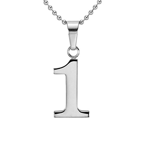 HACOOL Personalized 925 Sterling Silver Number 0-9 Character Pendant Necklace Jewelry (One) (Pendants Silver Number)