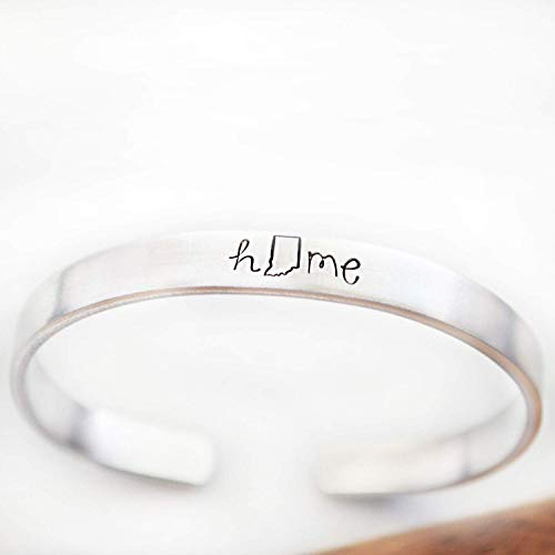 Indiana Home State Jewelry Hand Stamped Cuff Bracelets for Women Gifts for Grad Moving ()