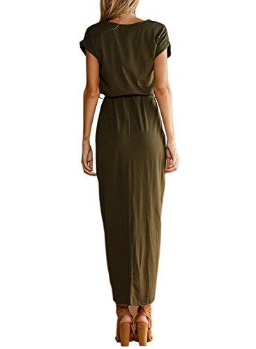 ACHICGIRL-Womens-Short-Sleeve-High-Slit-Solid-Maxi-Dress-with-Belt
