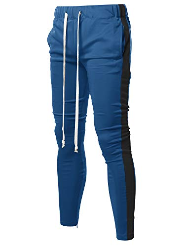 Style by William Casual Side Panel Long Length Drawstring Ankle Zipper Track Pants Denim Black - Pants Drawstring Denim