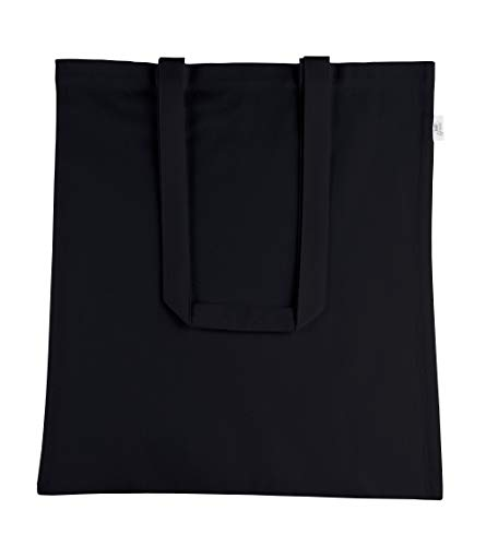 Green Atmos reusable Jet Black Color 12 pack 15 X 16 inch reusable grocery bags 5.5 oz Recycled Cotton canvas tote eco friendly super strong reusable washable great choice for promotion branding (Recycled Bags Tote Small)