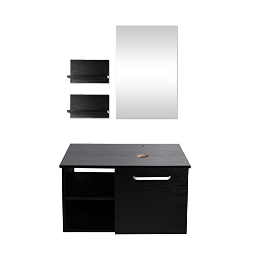 Elecwish USBA20079 Modern Bathroom Vanity, Wall Mounted Cabinet Wood, Satin Nickel with Mirror, Black