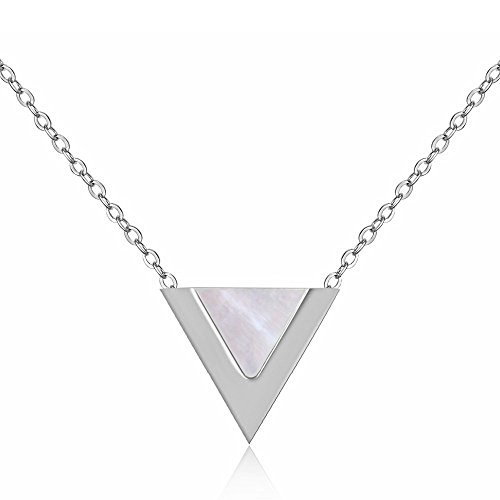 Mother Of Pearl Triangle Pendant - Emma Gioielli - Women Necklace Stainless Steel Pendant Charm Mother of Pearl Triangle Letter Initial Alphabet V Delta - Gift Box