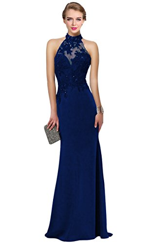 Stretch Crepe Prom Dress with lace halter Sleeveless Open Back Keyhole Royal Blue-Custom Made