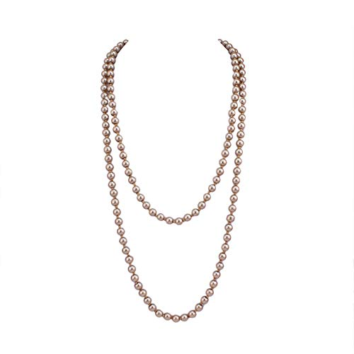 Grace Jun Luxury Fashion Glass Simulated Pearl for Women Party Handmade Long Pearl Necklace 55