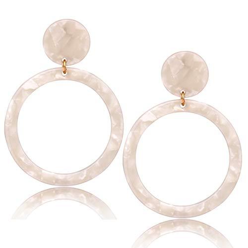 Price comparison product image Acrylic Hoop Earrings Mottled Resin Earrings Textured Open Circle Statement Stud Earrings for Women Girls (F White)