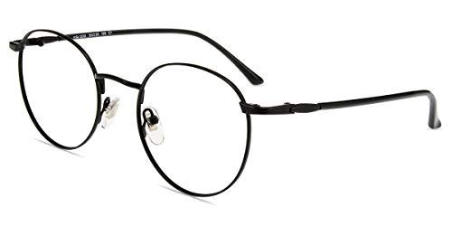 Firmoo Blue Light Blocking Glasses for Computer Use, UV Glare Filter Lens, Black Round Eyeglasses Frames for Women/Men (+0.00)
