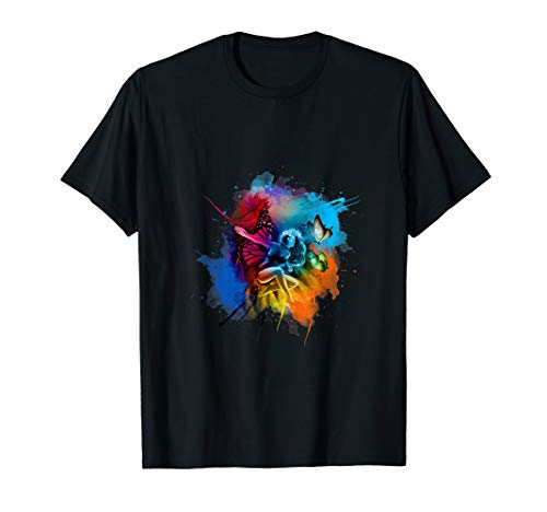 Cute Fun Colorful Pixie Fairy Butterfly T-Shirt Boys Girls - T-shirt Fairy Butterfly