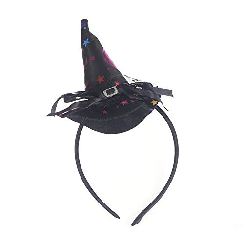 1 piece Kids Girls Witch Hat With Stars Pattern Halloween Headband Novelty Hair Band Hair Halloween Party Cosplay Costume Accessory -