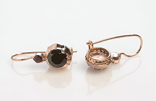 Handmade Victorian Style Drop Earrings with Garnet set in 14K Rose Gold Wire back with hook and lever Designer Brown Gemstone ()