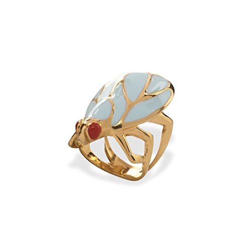 Fashion Jewelry Women's Statement Rings by Eleonora Varini - Unique Handmade Italian Design Jewels - Beautiful, Bold and Trendy Bronze 24k Gold and Rhodium Plating (Turquoise & Gold Fly, (24k Elephant Earrings)
