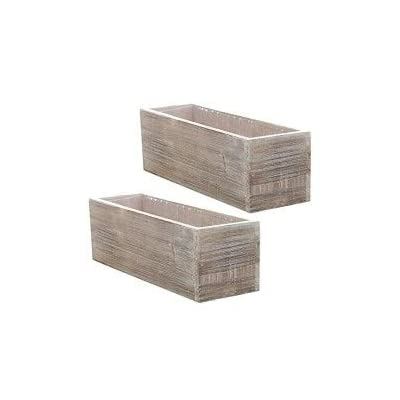 Wood Planter Box Set, Rustic Whitewash, Country House Charm, Plastic Liners, Long Rectangle, 12 x 4 Inch, Wedding Decor and Floral Arrangements, Natural Centerpiece, Wooden (Beige), (Set of 2): Home & Kitchen