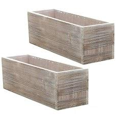 Wood Planter Box Set, Rustic Whitewash, Country House Charm, Plastic Liners, Long Rectangle, 12 x 4 Inch, Wedding Decor and Floral Arrangements, Natur -
