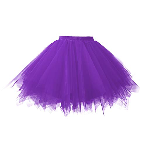 Topdress Women's 1950s Vintage Tutu Petticoat Ballet Bubble Skirt (26 Colors) Purple S/M -