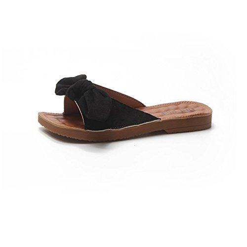 WHLShoes Sandalias y chanclas para mujer Bowslip Zapatillas Casual Femenino De Fondo Plano De Verano Perezosos Silvestres Con Un Cómodo Desgaste Exterior black
