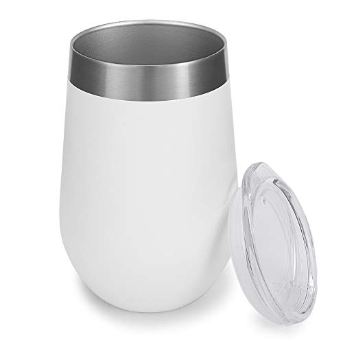 Unbreakable&Durable Stemless Wine Glasses Insulated Wine Tumbler with Lid,12oz Stainless Steel Double Wall Travel Vacuum Cup,Heat Insulation Cold Insulation for Coffee,Wine,Cocktails,Ice Cream(White)