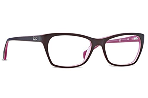 Ray Ban Optical Montures de lunettes RX5298 Pour Femme Shiny Black, 53mm 5386: Matte Brown / Opal Pink