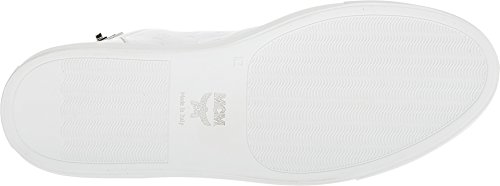 Mcm Menns Preget Logo Høy Topp Turnlock Sneaker Hvit