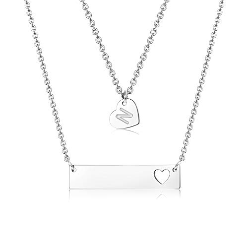 Finrezio Stainless Steel Silver Tone Initial Necklace Alphabet and Heart Bar Pendant Necklace for Women Mother Multilayer Necklace ()
