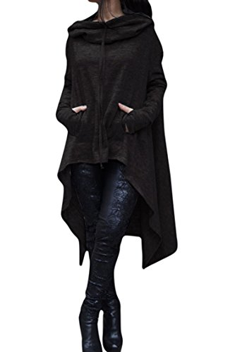 Lacostew Lady's Draped Cowl Neck Big Pocket Hi Lo Hooded Sweatshirt Top Black L (Neck Cowl Asymmetrical)