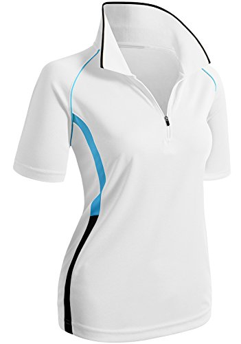 CLOVERY Golf Wear Moisture Wicking Short Sleeve Zipup POLO Shirt WHITE US M/Tag M
