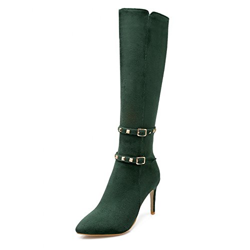 AmoonyFashion Womens Frosted Zipper Pointed Closed Toe Spikes Stilettos Mid Top Boots Green x6QCX