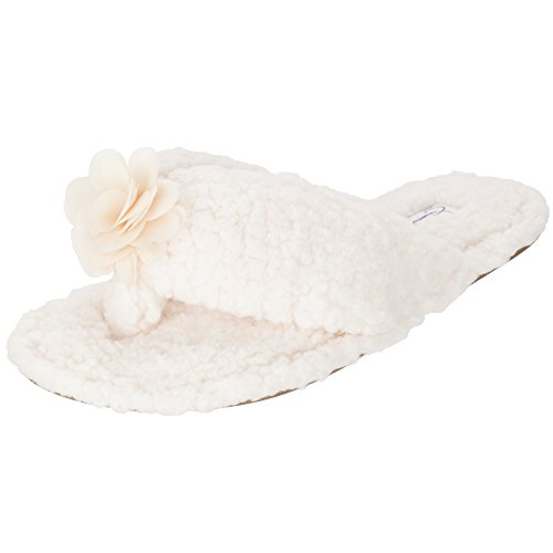 Image of Jessica Simpson Plush Cozy Faux Shearling Thong Slide On Womens Slippers with Flowers