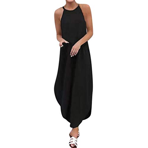YKARITIANNA Women's Summer Fashion Round Neck Solid Color Dovetail Sling Dress Black ()