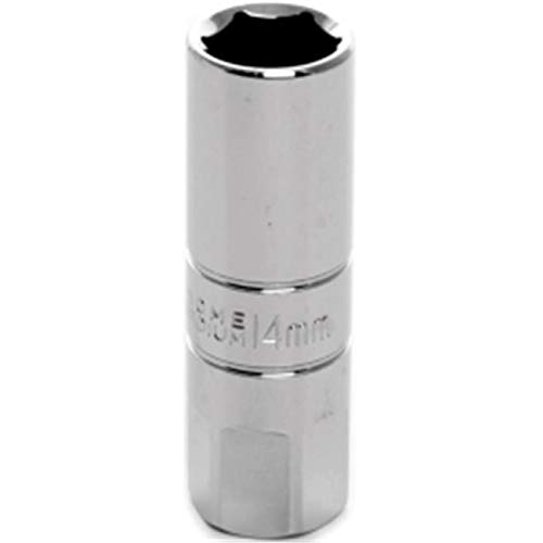 OKSLO DenDesigns W38166 Chrome Spark Plug Socket - 0.37 in. Drive, 14 mm Deep with 17 mm Hex Bols
