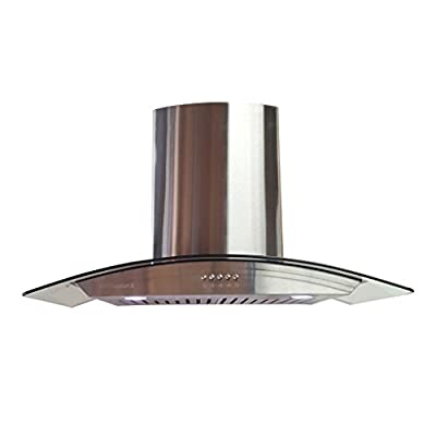 "36"" Wall Mount Stainless Steel Glass Range Hood LOH213A-90-0-0 European Style DUCTLESS VENT-LESS CHIMNEY With carbon charcoal filters"
