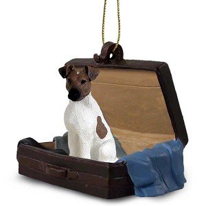 Brown/White Fox Terrier Traveling Companion Dog Ornament ()