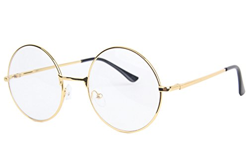 Topcosplay Children Kids Round Clear Metal Frame Glasses (Blonde, 14) (Old Man Costume)