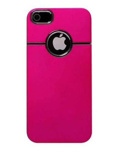 Hot Pink Deluxe W/chrome Rubberized Snap-on Hard Back Cover Case for Apple iPhone 5 5G