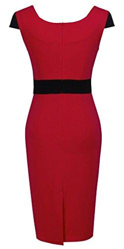 HOMEYEE - Vestido - Sin mangas - para mujer B272 Rojo