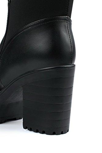 VogueZone009 Femme Tire Rond à Talon Haut PU Cuir Haut Élevé Bottes Noir ai9KHN