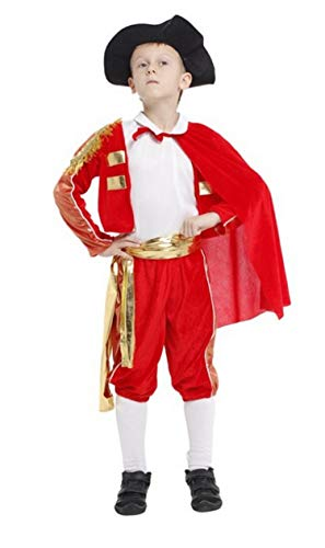 Brcus Boys Matador Role Play Spanish Halloween Costume Red Bull Fighting Outfits -