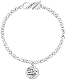 Delight Jewelry Silvertone I Love You to The Moon and Back Grandma Infinity Toggle Chain Bracelet 8