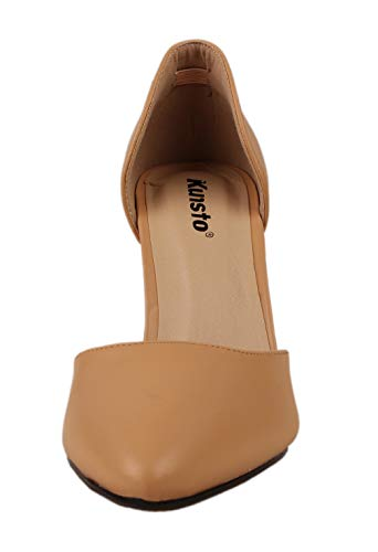Kunsto D'Orsay Heels for Women Pointed Toe Slip On Dress Pump Office Shoes Nude Size 7.5