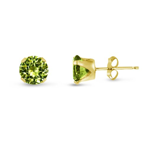 Round 7mm 14k Gold Plated Sterling Silver Lime Green CZ Stud Earrings, Free Gift Box included