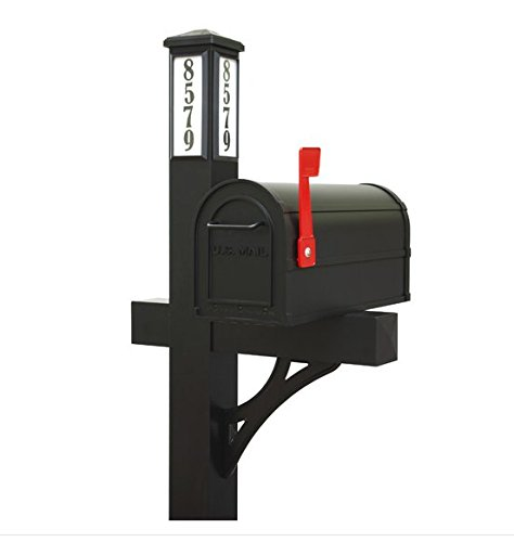 Solar Illuminated Single Post Mailbox Kit (Black) - Be able to Easily Direct Emergency Personnel, Family, and Friends to Your Home.