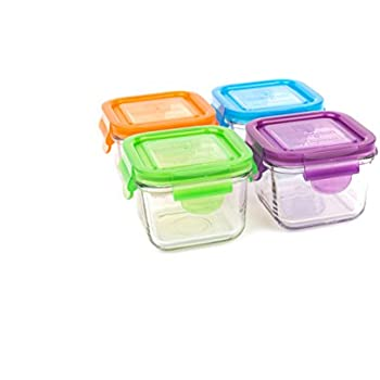 Wean Green Glass Storage Containers, 7 Ounces, Snack Cubes Garden Pack, 4  Jars