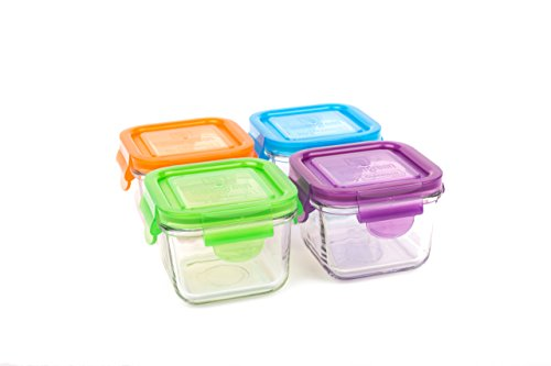 (Wean Green Glass Storage Containers, 7 Ounces, Snack Cubes Garden Pack, 4 Jars)