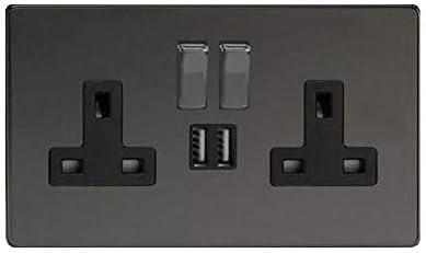 Black Nickel Double Socket USB 13A 2 Gang Electric Wall Plug Socket USB Outlet